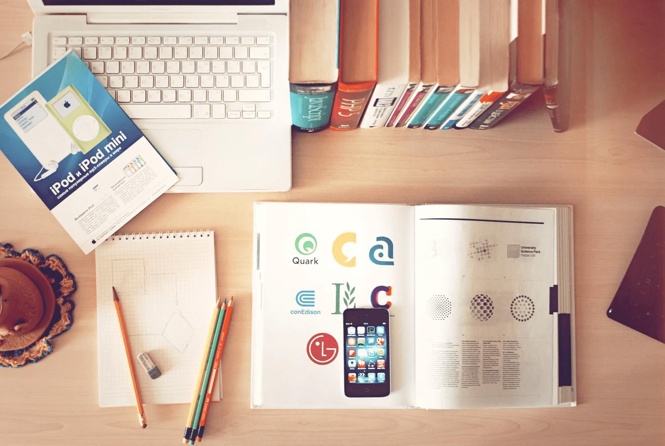 office desk showing logos